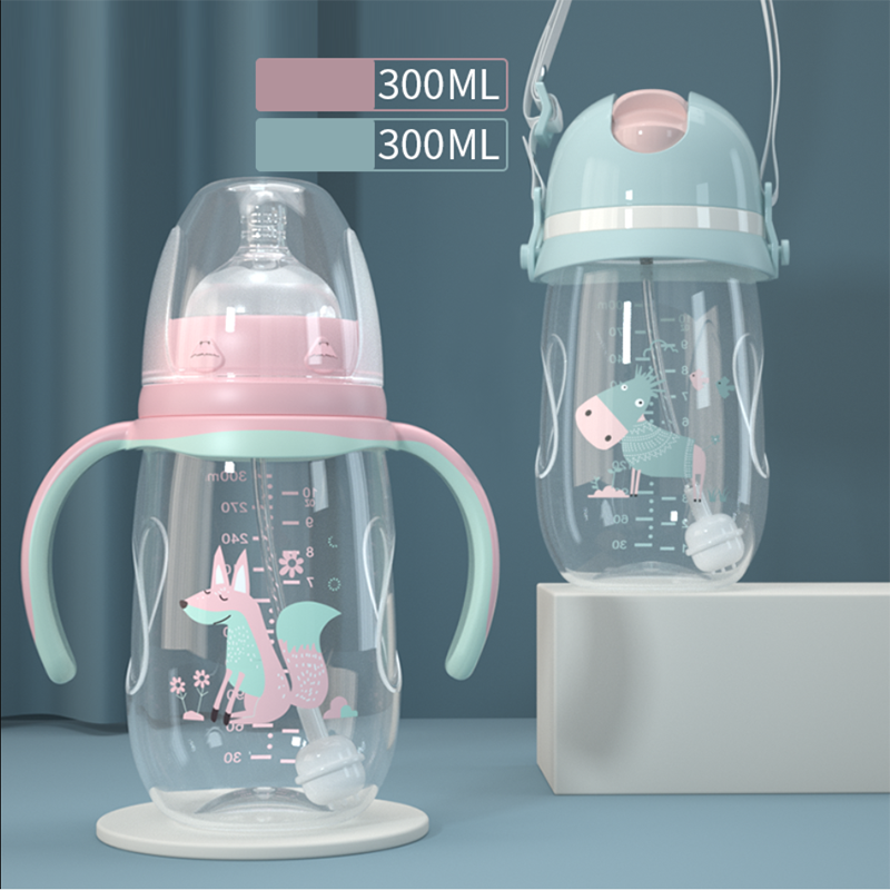 2019 New Baby Bottle Anti-fall Plastic Pp Newborn Baby Wide Caliber Milk Pot With Straw Handle Newborn Child Drinking Cup