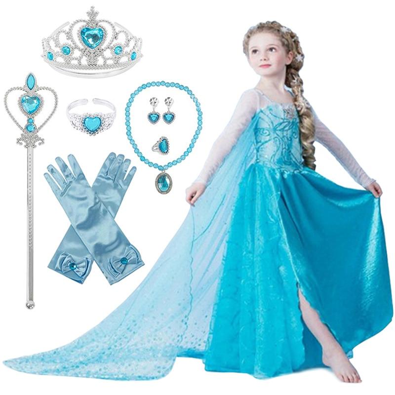 Elsa Dress For Girls Princess Anna Elsa 2 Costumes Party Cosplay Elza Vestidos Hair Accessory Set Children Girls Clothing 4-10T