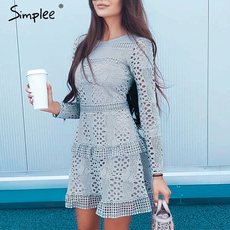 Simplee Ruffled Hollow Out Embroidery Women Dress A-line Autumn Winter Casual Short Dress High Waist Solid Ladies Party Dress