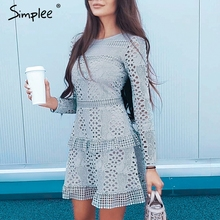 Simplee Ruffled hollow out embroidery women dress A line autumn winter casual short dress High waist solid ladies party dress