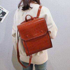 Image 2 - Vintage Pu Leer Vrouwen Rugzak Preppy Stijl Rugzakken Mode Schooltas Voor College Meisje Steen Schoudertas Mochila Feminina