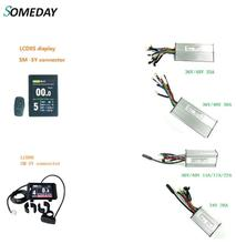 цена на SOMEDAY 24V/36V/48V KT LCD8S /LCD8H Display with KT Square Wave Controller 36V/48V 15A/17A/22A/30A/35A 24V 20A for ebike kit