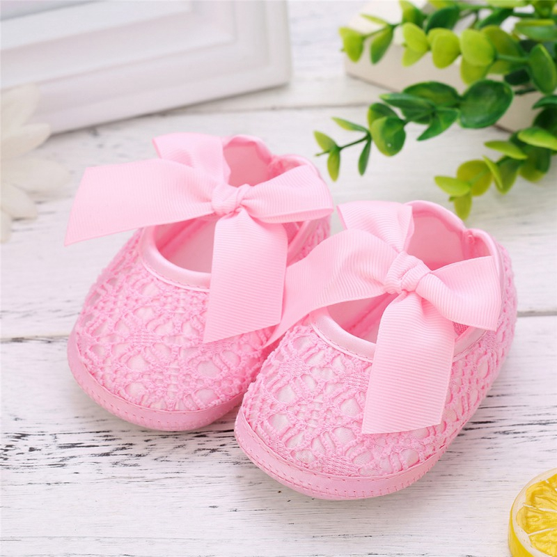 New Baby Girls Shoes Bowknot Anti-Slip Soft Sole Hook First Walkers Toddler Infant Baby Girl Kids Shoes 0-18M