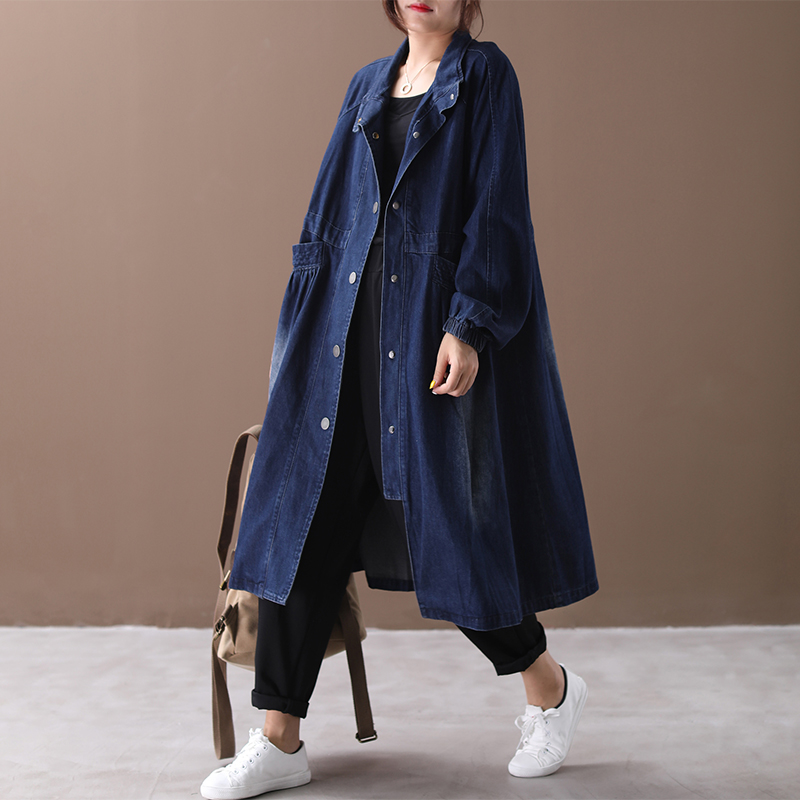 2019 female new autumn korean style plus size outerwear Literary single-breasted washed fold loose denim   trench