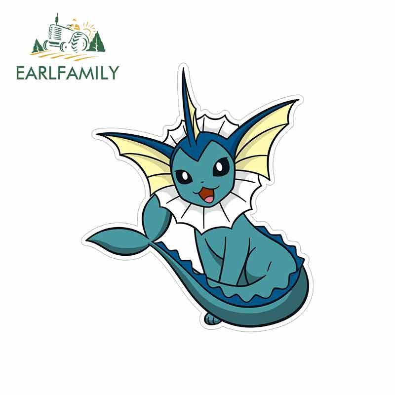 EARLFAMILY 13cm X 11.2cm For Pokemon Vaporeon Cartoon Oem Car Stickers Helmet Motorcycle Sunscreen Vinyl JDM Truck Graphics