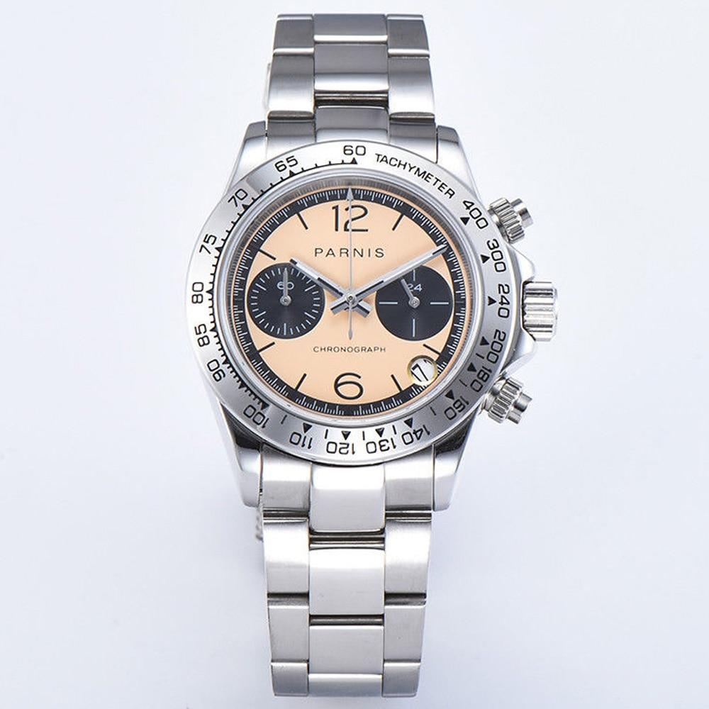 39mm PARNIS Beige dial sapphire Crystal date full Chronograph quartz mens watch|Quartz Watches| |  - title=