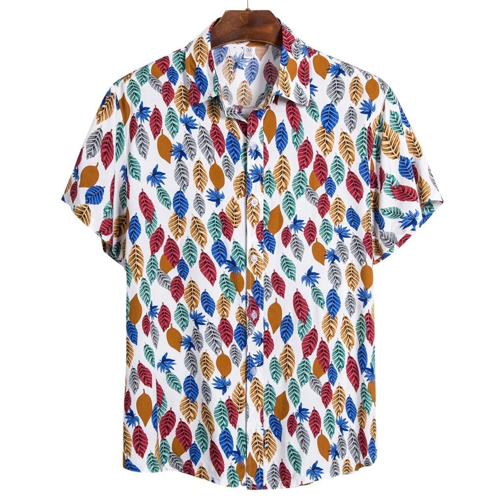 Men Ethnic Short Sleeve Casual Printed Hawaiian Shirt Blouse Plus Size M-3XL Shirts Camisa Social Masculina рубашки мужские 2020