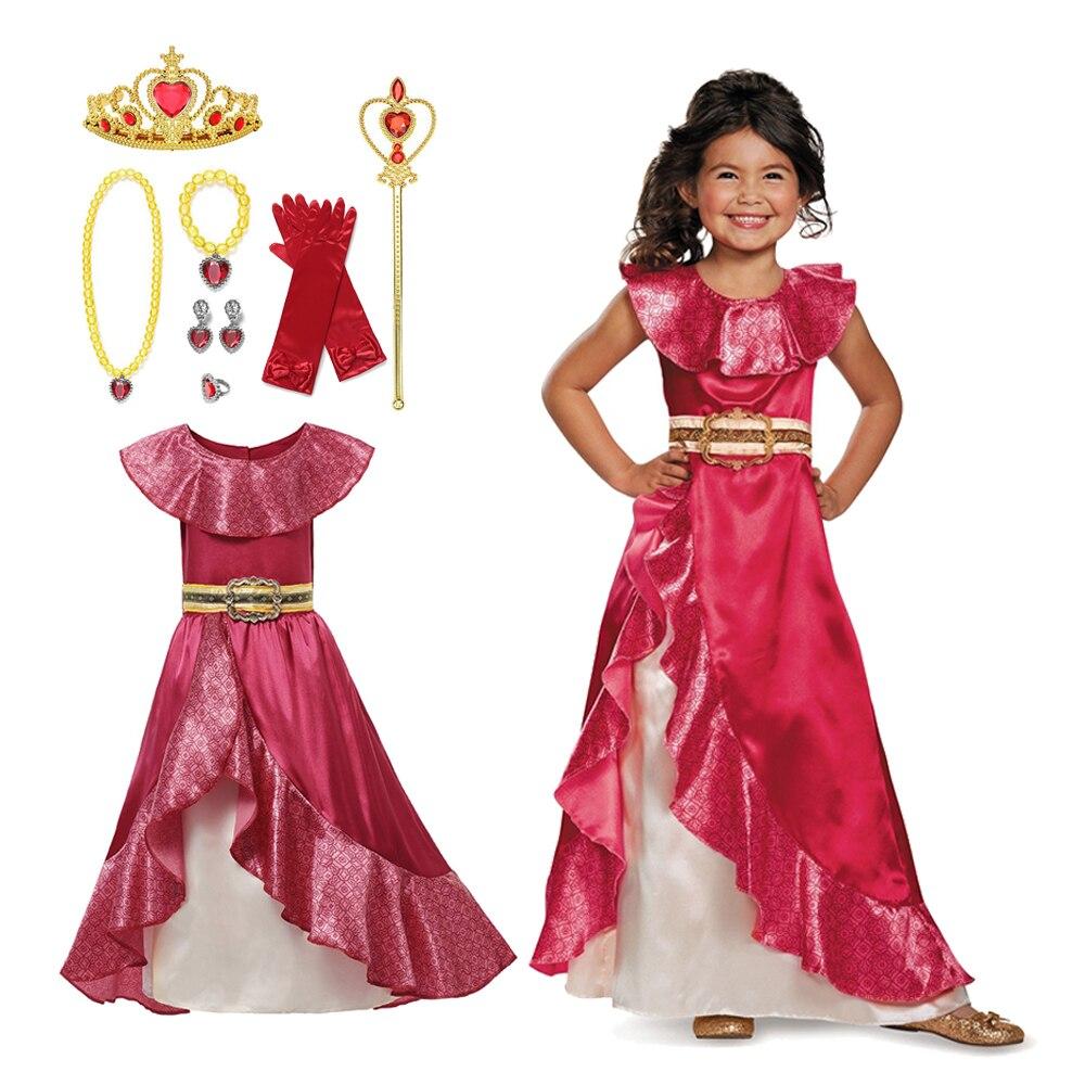 Классический костюм принцессы Елены для девочек, красный костюм для косплея, детское платье авалора Елены, Детская Вечеринка без рукавов, б...