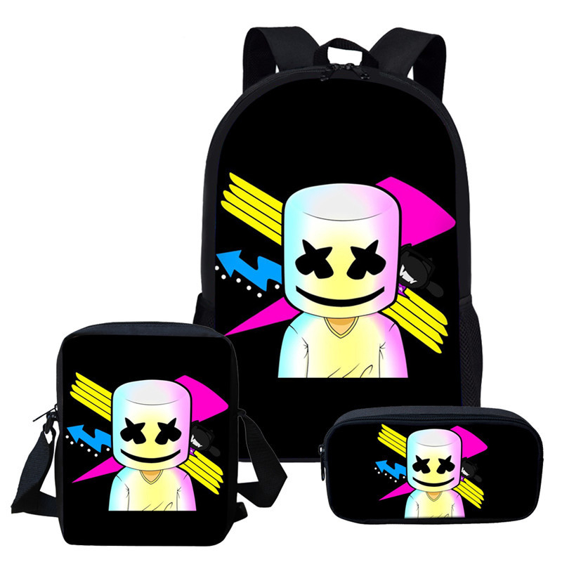 DJ Marshmallow Teenagers Backpack Outdoor Travel Cute Student School Bag Satchel Children Primary Boys Girls Backpacks TBG363