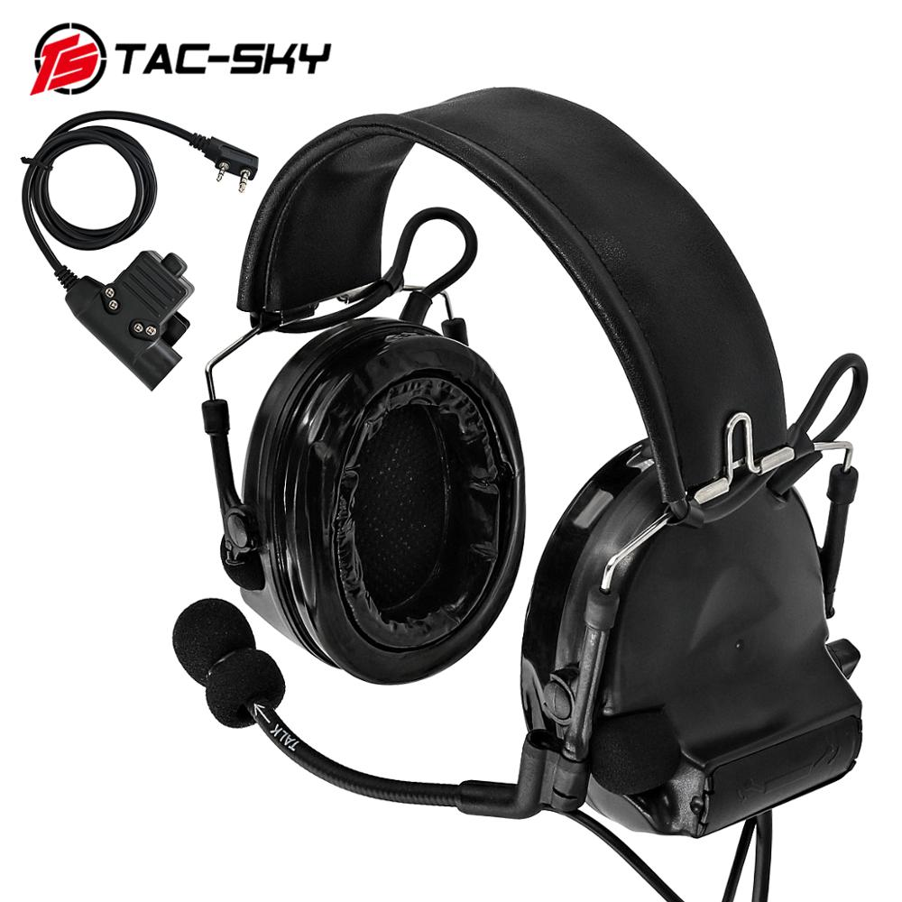 TAC-SKY COMTAC II Silicone Earmuffs Noise Reduction Pickup Military Shooting Tactical Headset BK + U94 Kenwood Plug PTT