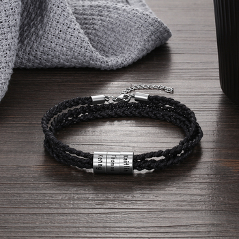 Personalized Braid Rope Bracelet For Men Engraved Custom Names Beads Stainless Steel Wrap Bracelets & Bangles Gifts for Him personalized stainless steel braided rope charm bracelets custom name leather bracelet with 2 5 names beads for family men gifts