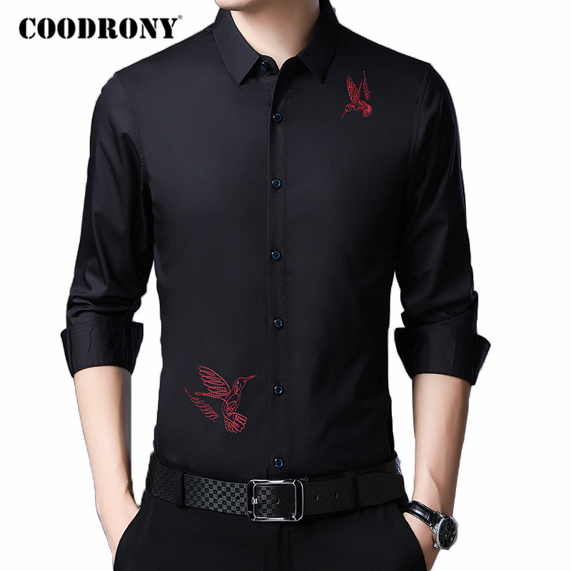 COODRONY Long Sleeve Shirt Men Spring Autumn New Arrival Business Casual Shirts Fashion Embroidery Chemise Homme Plus Size C6045