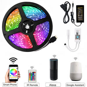 Neon-Tape-Lamp Led-Strip-Lights Remote--Adapter Flexible Waterproof 2835 Rgb Ribbon 5050RGB