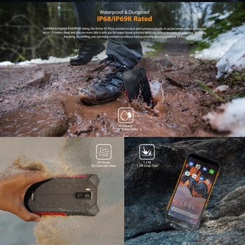 Ulefone Armor X5 Pro Rugged Waterproof Smartphone 4GB+64GB Octa Core Android 10.0 Cell Phone NFC 4G LTE Mobile Phone 5000mAh 6