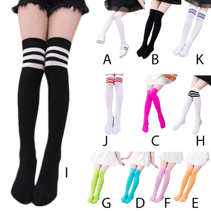 Kids Girls Autumn Long Tube Bright Sweet Candy Color Child Princess Thigh High Stockings School Student Over Knee Hosiery