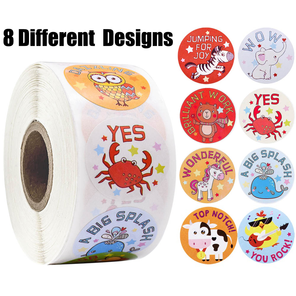 500pcs/roll Reward Stickers For Students Teachers Encouragement Sticker For Kids Motivational Stickers With Cute Animals
