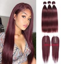 Бразильские прямые человеческие волосы пряди с застежкой 4x2 человеческие волосы для наращивания 99J #2 #4 светильник-коричневые Реми