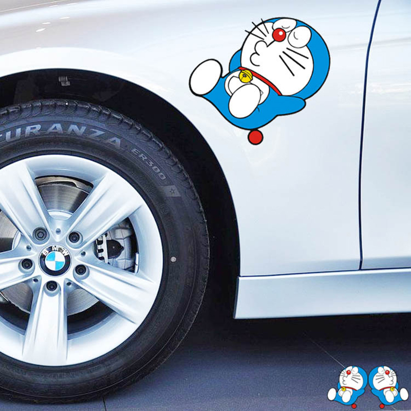 2pcs/lot Lovely Doraemon Car Sticker Doraemon Having A Rest Sticker Reflective Waterproof Auto Decoration Accessories Decal