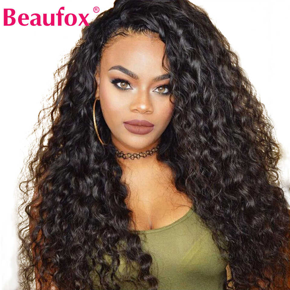 Brazilian Water Wave Lace Front Human Hair Wigs Front Lace Wigs With Baby Hair 13x4 PrePlucked Natural Hairline Beaufox Remy150%