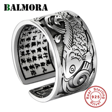 BALMORA Real 999 Silver Vintage Koi Open Stacking Finger Rings for Men Women Couple Special Gift Buddhism Sutra Fashion Jewelry