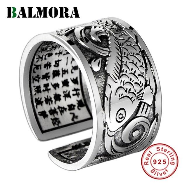 BALMORA bagues Vintage en argent 999, bijoux Vintage Koi à empiler, ouvert, cadeau spécial pour Couple, bijou bouddhiste Sutra, à la mode