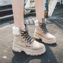 KANCOOLD зимние сапоги Для женщин на шнуровке; модные зимние ботинки женские Обувь на теплом меху Нескользящие туфли для всех возрастов, без застёжки, Для женщин зимние ботильоны на танкетке и платформе