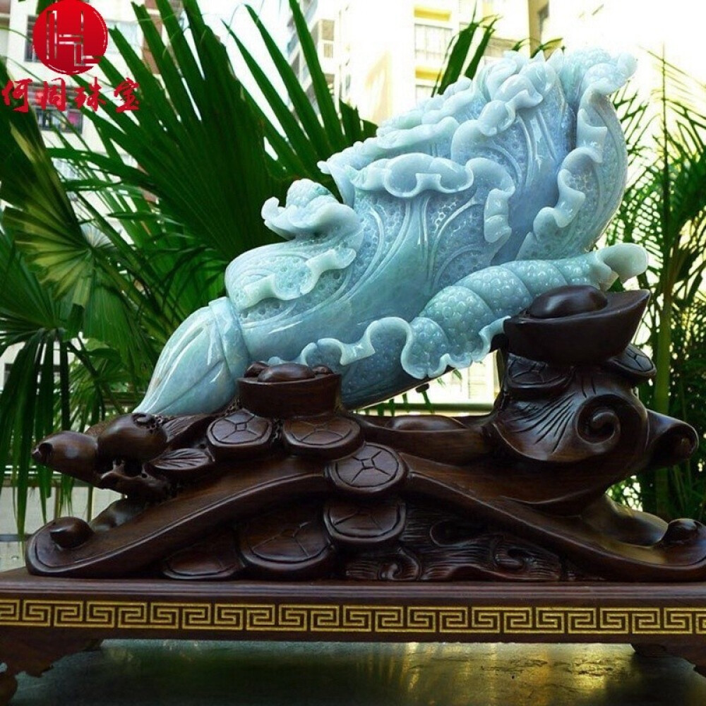 Hezhou jewelry!Myanmar natural jade!Chinese cabbage hand-carved decoration!Living room desk accessories!14.60jins 1