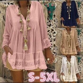 цена на Plus size women's loose dress 2020 summer thin dress casual lace pleated dress V-neck long-sleeved women dress