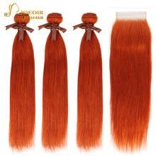Пряди человеческих волос joedir оранжевые красные с закрытием