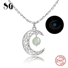 Hot sale 925 sterling silver Crescent moon pendant necklace hanging with glowing ball fashion diy jewelry Making for women gifts цена
