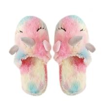 ฤดูหนาวยูนิคอร์นในครัวเรือน Anti SLIP ในร่มรองเท้าแตะเด็กวัยหัดเดินเด็กทารกเด็กวัยหัดเดินเด็กวัยรุ่นรองเท้าแตะรองเท้าฮาโลวีน