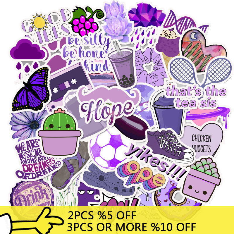 50 PCS Pack Purple Vsco Stickers Waterproof DIY For Girl Things On Laptop Fridge Phone Skateboard Suitcase Decal Toy Sticker