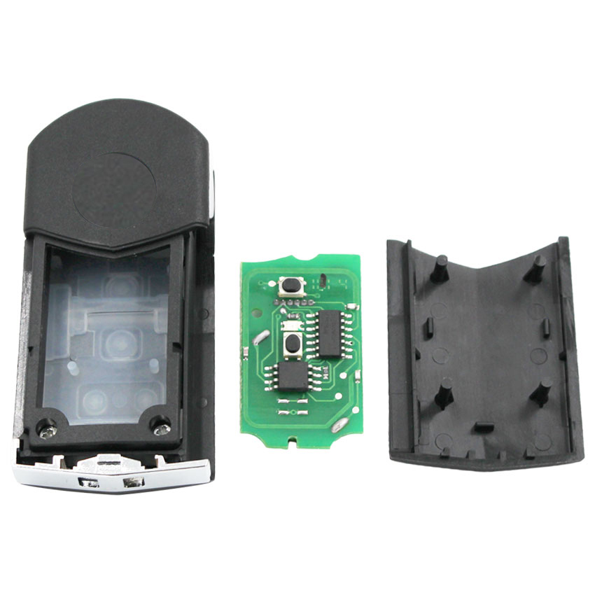 Image 3 - Upgraded Flip Remote Car Key Fob 2 Button 433MHz 4D63 chip for Mazda 2 3 6 2002 2005 Visteon Model No. 41803 with uncut keyCar Key   -