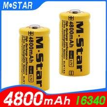 Bateria recarregável de alta capacidade 4800 mah 3.7 v li-ion 16340 baterias cr123a para lanterna led para 16340 cr123a bateria