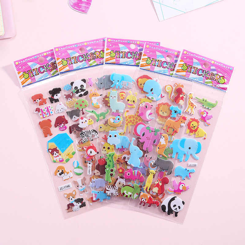 10 Sheets Leuke Cartoon Stickers Dier Scrapbooking Bubble Gezwollen Stickers Beloning Kids Speelgoed Voor Auto Laptop Skateboard Pad Fiets