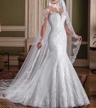 Vestido de casamento sereia de mangas compridas, elegante, gola com salto, vestido de noiva para casamento, feito sob encomenda 2019