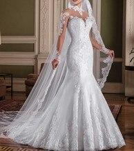 Vestido de novia de manga larga, elegante vestido de boda de sirena con cuello alto, encaje, hecho a medida, 2019