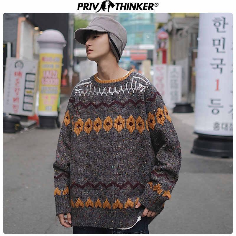 Privathinker Männer Oansatz Vintage Hip Hop Pullover Herren 2020 Herbst Winter Koreanische Pullover Lose Männlichen Harajuku Pullover Fashions