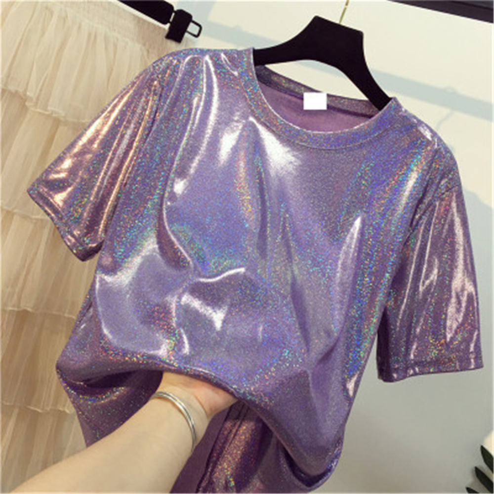 Daddy Chen Glitter T Shirt Loose Femme Bling Tops For Women Short Sleeve O Neck Clubwear Fashion High Street Roupas Feminina