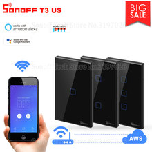 Itead Sonoff T3US 120 Size 1/2/3 gang TX 433Mhz RF Remoted Controlled Wifi Switch With Border Works With Alexa Google Home IFTTT