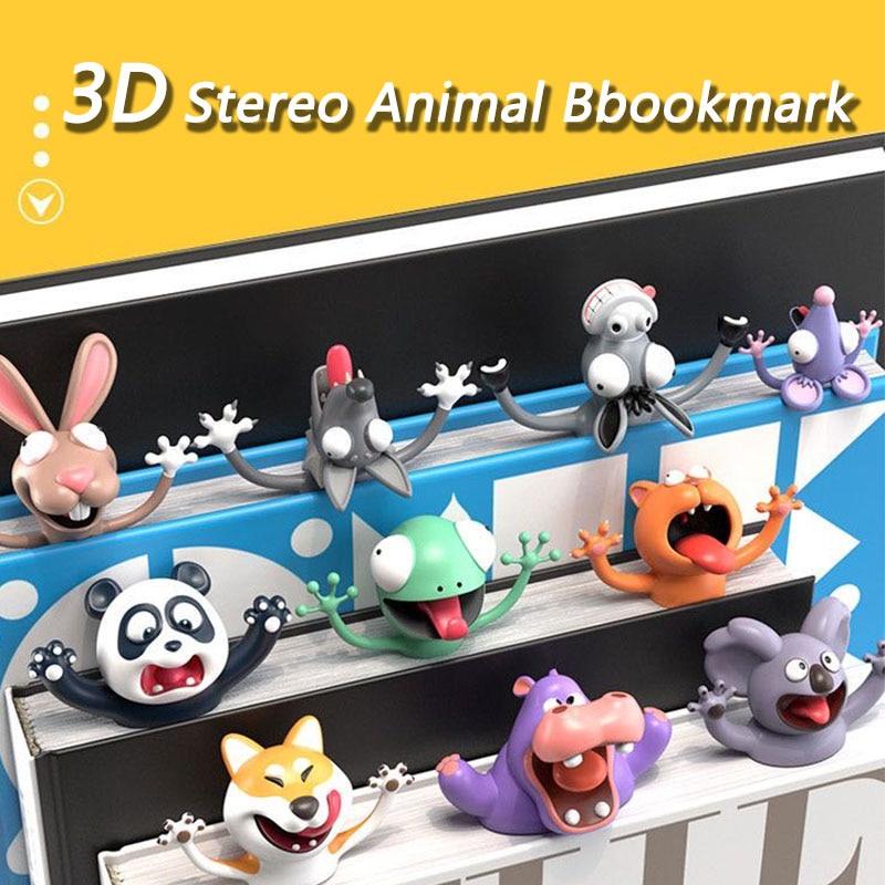 Cute 3D Animal Bookmarks 3D Stereo Cartoon Lovely Animal Bookmark Wacky Bookmark for Kids Office School Stationery SIZHINAI Cute Book Marks Wacky Bookmark