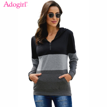 Adogirl Color Block Zipped Neck Hoodie Adjustable Drawstring Long Sleeve Pockets Ribbed Hem Hooded Sweatshirts Casual Tops