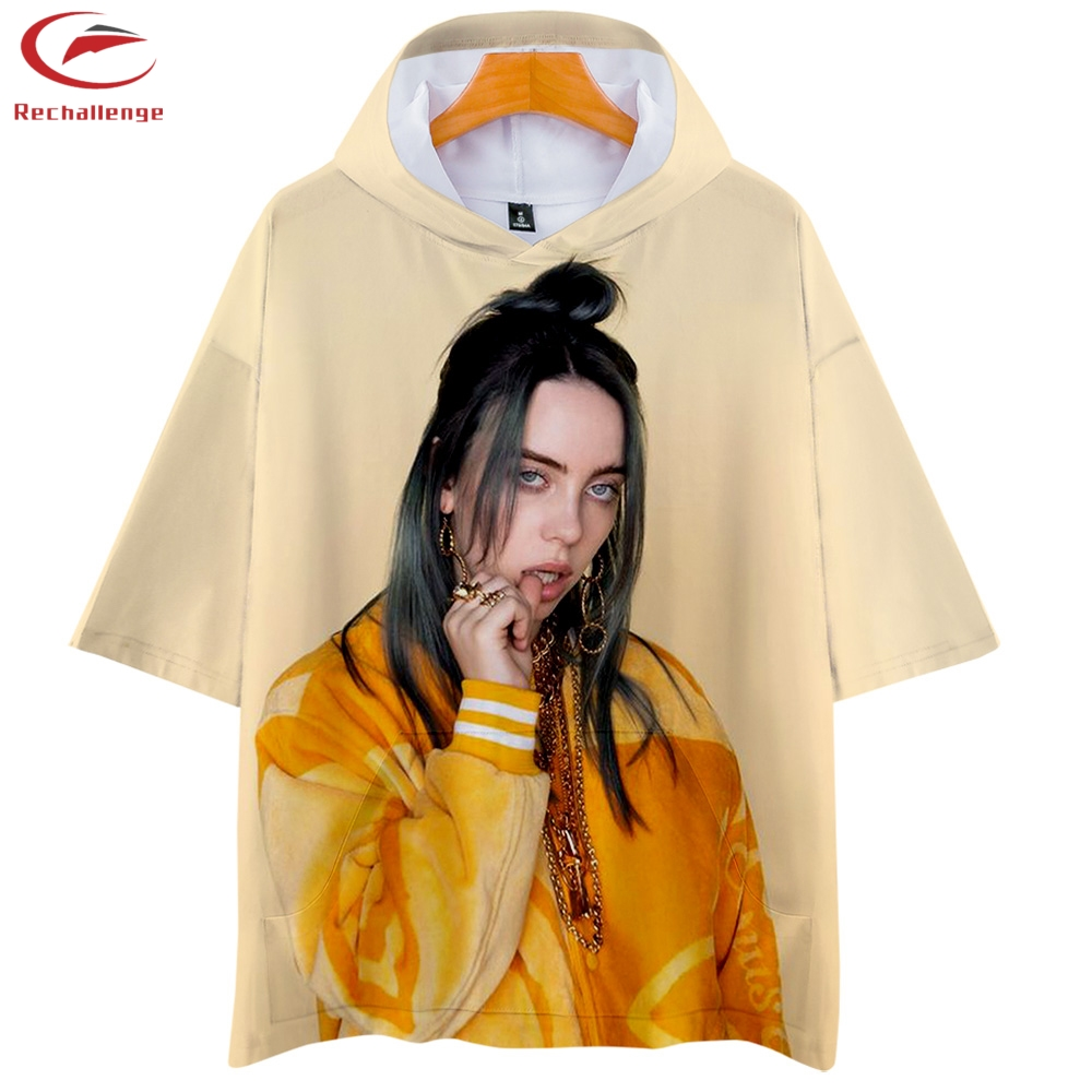 Billie Eilish T Shirts 2019 Women Summer Short Sleeve Pattern Printed Hooded Shirts Billie Eilish Women Fashion Hooded Tshirts