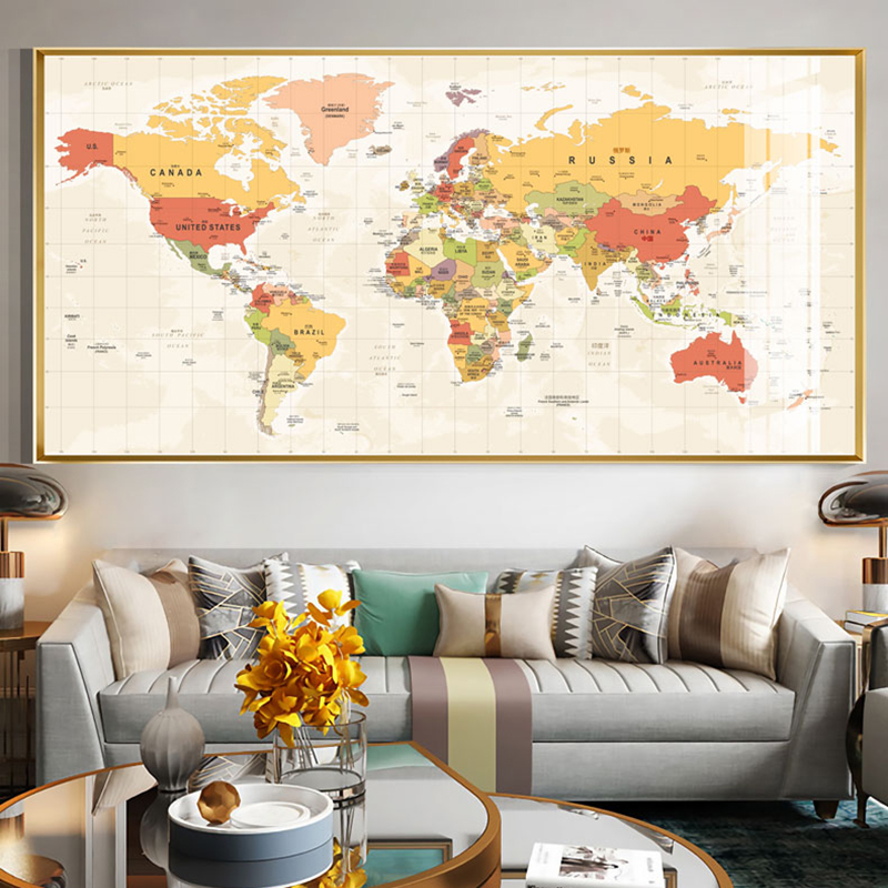 RELIABLI ART World Map Pictures Canvas Painting Wall Art For Living Room Bedroom Office Modern Home Decorative Posters NO FRAME
