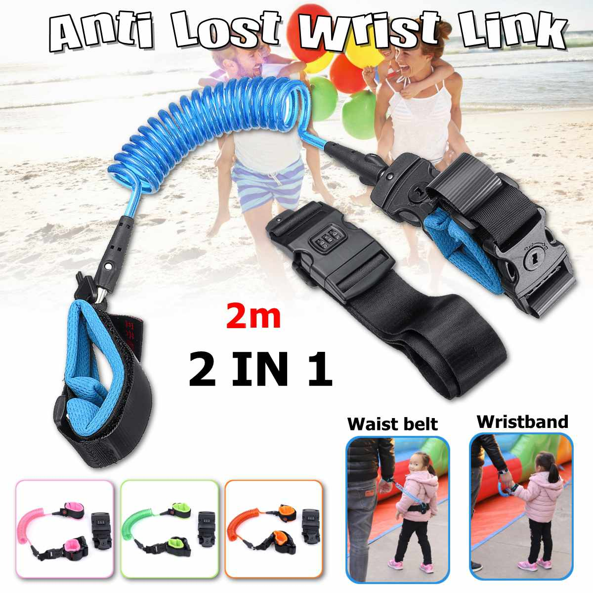 Bioby 2m Anti Lost Wrist  Password + Key Lock Link Toddler Leash  For Baby Strap Rope Outdoor Walking Hand Belt Band Baby Kids