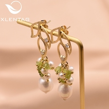 XlentAg Natural Stone Fresh Water Baroque Pearl Leaf Drop Earrings For Women Original Handmade Earring Fine Jewelry GE0561