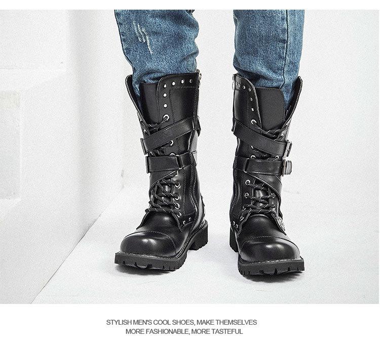couro dos homens da motocicleta botas de