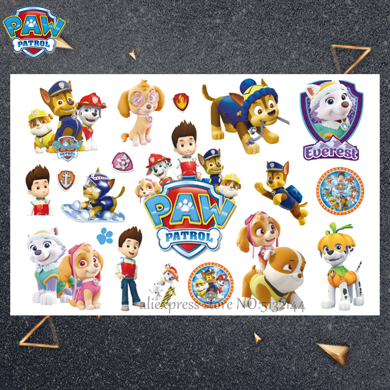 Paw Patrol Cute Cartoon Temporary Tattoo Sticker For Children Boys Toys Tatoo Paper Paste Waterproof Birthday Party Kids Gift in Stickers from Toys Hobbies