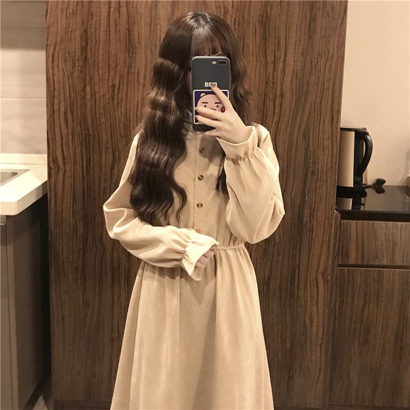 Long Sleeve Dress Women Autumn Winter Solid Corduroy High Quality Pink Kawaii Buttons Mid-long All-match Loose Student Womens