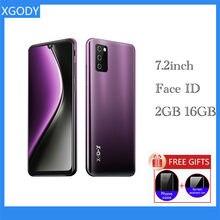XGODY-teléfono inteligente 4G, Smartphone con Android 9,0, 19:9, gota de agua, SIM Dual, 7,2 pulgadas, 2GB, 16GB, cuatro núcleos, cámara de identificación facial de 3600mAh